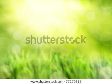 Colorful green, and yellow spring or summer background with sunburst and copy space