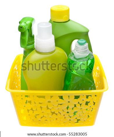 colorful group of green cleaning supplies for natural and friendly cleaning themes