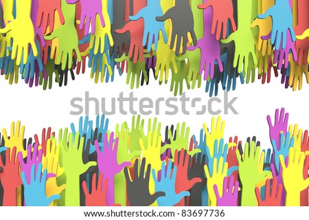 Colorful group of hands reaching for another with clipping path - stock photo
