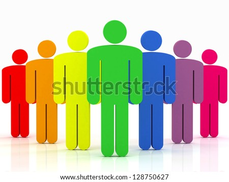colorful group of people standing on a white background