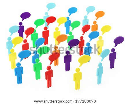 Colorful Group of People Talking in The Social Networking  - stock photo