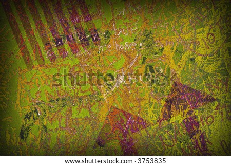 Colorful grunge background with graffiti and writings and a slight vignette. - stock photo