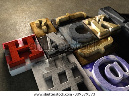 Colorful, grunge textured wooden printing blocks packed together to form the word hack. Concept for hacking or stealing code, passwords and data. Shot from the left.