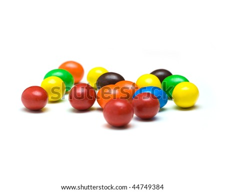 colorful gum balls isolated on white background - stock photo