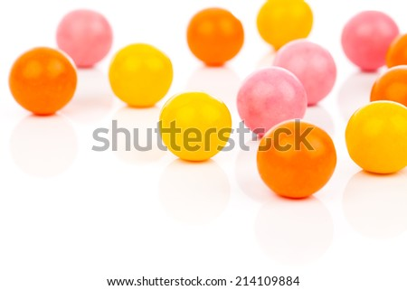 Colorful Gumballs  isolated over white background - stock photo