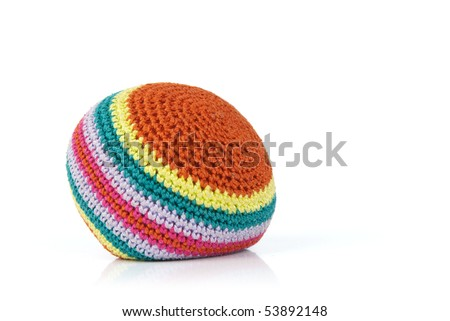 Colorful hacky sack isolated on white - stock photo