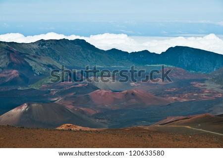 Colorful Haleakala crater, Hawaii - stock photo