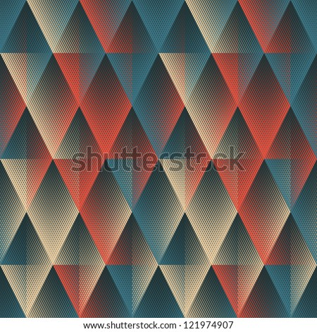 Colorful halftone textured geometric background. Seamless pattern.