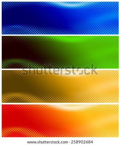 Colorful halftone Website banner collection. digitally generated illustration for web site headers