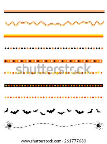 Colorful Halloween divider collection on white - stock photo
