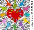 Colorful Hand Around and Inside Red Heart For Volunteer Campaign in Donation Label Background - stock photo