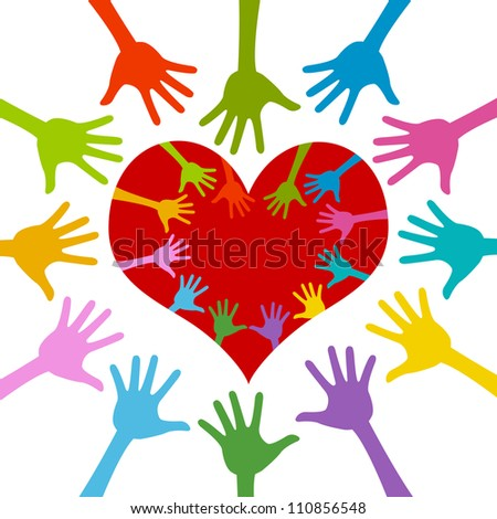 Colorful Hand Around and Inside Red Heart For Volunteer Campaign Isolated On White Background - stock photo
