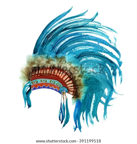 Colorful hand drawn watercolor vibrant Indian war bonnet. Boho style. illustration isolated on white background. Design for T-shirt. Rustic Bright colors.