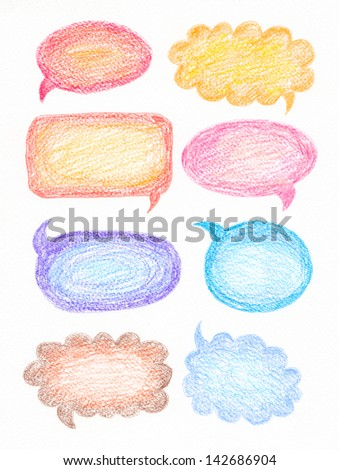 Colorful hand drawn with pencils speech and thought bubbles - stock photo