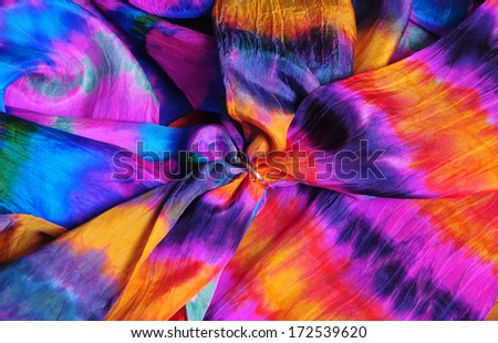 Colorful hand-dyed silk scarves using Japanese shibori technique - stock photo