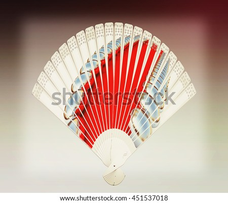 Colorful hand fan. Isolated on gray. 3D illustration. Vintage style. - stock photo