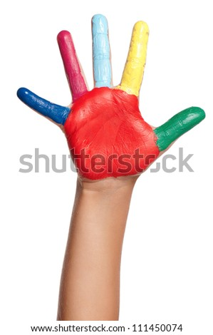 Colorful hand of the child isolated on white background - stock photo