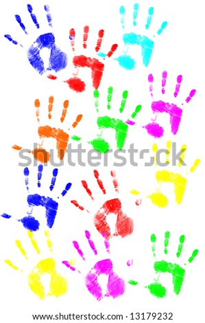 Colorful hand print - stock photo