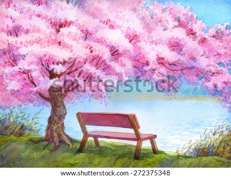 Colorful handmade bright romantic watercolour on paper backdrop with space for text. Cozy wooden bench on the riverbank under beautiful flowering pink peach tree - stock photo