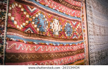 Colorful handmade carpets in Marrakesh, Morocco - stock photo