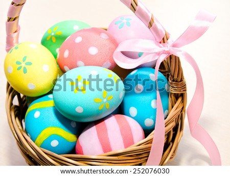 Colorful handmade easter eggs in the basket isolated - stock photo