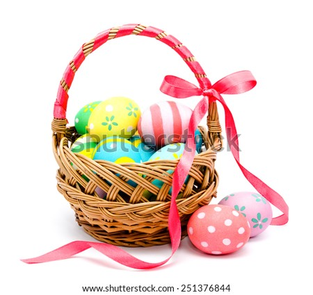 Colorful handmade easter eggs isolated on a white - stock photo
