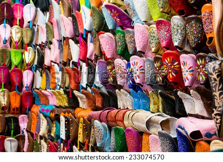 Colorful handmade leather shoes in Marrakesh, Morocco - stock photo