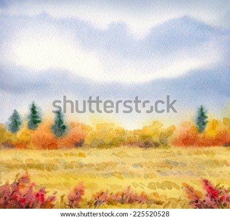 """Colorful handmade vivid drawing on paper backdrop with space for text. Series """"Different seasons"""". Gray rain cloud on overcast day over grassland with red wildflowers and thickets with firs on horizon - stock photo"""