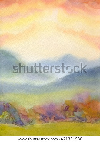 Colorful handmade watercolour romantic backdrop with space for text on pink heaven. Light green grassland steep and shrubs on high mounts in sunny haze of summertime vivid sundown. Bright rural scene - stock photo
