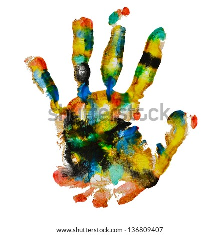 colorful handprint isolated on white background