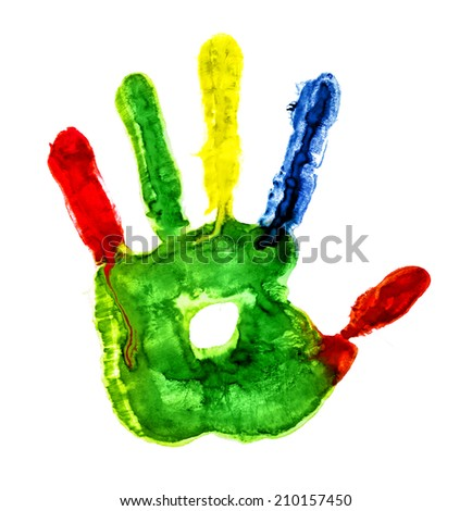 colorful handprint with fingers on an isolated white background