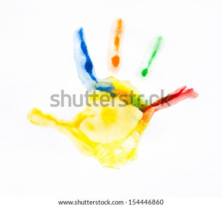 Colorful handprints. Imprint child hands painted in different colors - stock photo