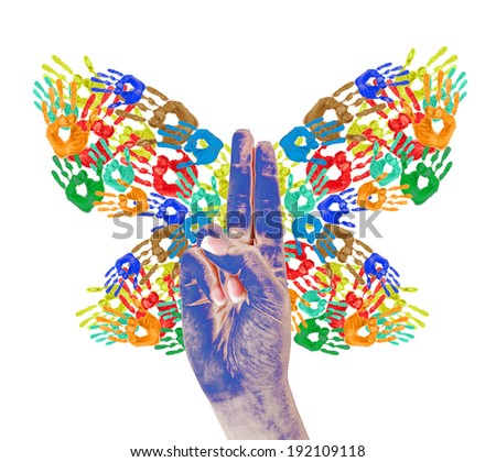 Colorful handprints in shape of butterfly isolated on white - stock photo