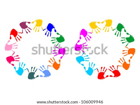 colorful hands formatted as a circle