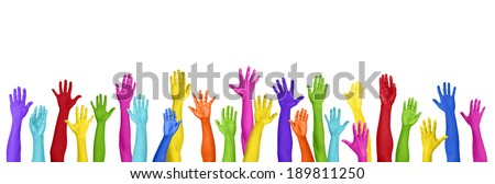 Colorful Hands Raised On White Background - stock photo