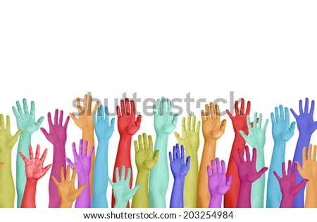 Colorful Hands Raised On White Background
