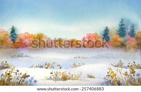 "Colorful handwork drawing on paper backdrop with space for text. Series ""Different seasons"". Blue sky on a frosty day over snow-covered valley with dry bushes and thickets with firs on horizon"