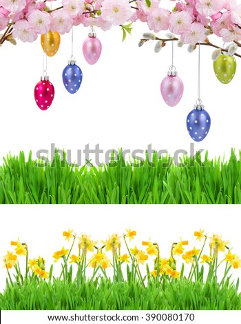 Colorful Hanging Easter Eggs Grass Border And Row Of Daffodil Flowers Isolated On White Background