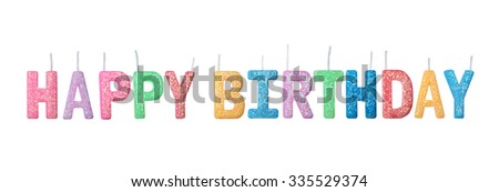 Colorful happy birthday candles  isolated on white background. this has clipping path. - stock photo