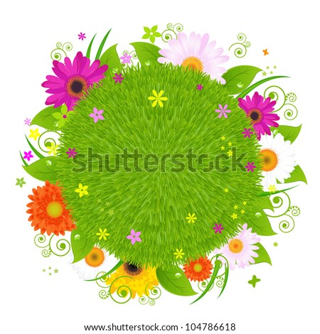 Colorful Happy Card, Green Planet With Grass And Flowers - stock photo