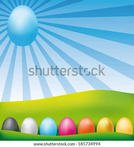 Colorful happy easter eggs card. - stock photo