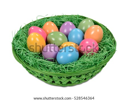 Colorful happy easter eggs in basket