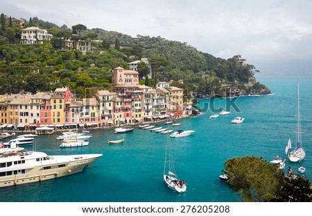 Colorful harbor of Portofino village. Azure Bay - stock photo
