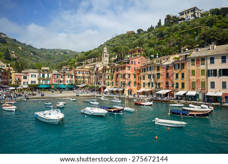 Colorful harbor of Portofino village. View from ferryboat - stock photo