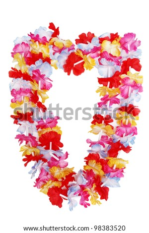 Colorful Hawaiian lei flower isolated on white background - stock photo