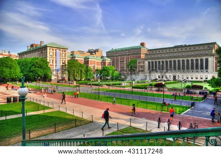 Colorful HDR image of the Central Quadrangle and Butler Library in New York City's Columbia University, an Ivy League school - stock photo