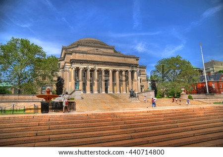 Colorful HDR image of the famous library at the Columbia University, New York City on a clear blue sky - stock photo