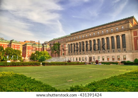 Colorful HDR image of the front of the Central Quadrangle and Butler Library in New York City's Columbia University, an Ivy League school - stock photo