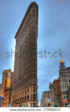 Colorful HDR picture of the Flatiron Building in Manhattan, New York City - stock photo