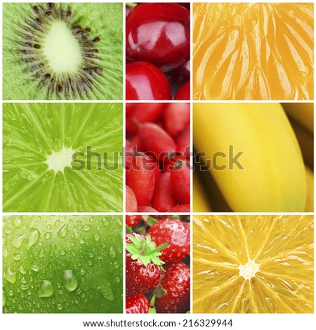 Colorful healthy fruit collage macro - stock photo